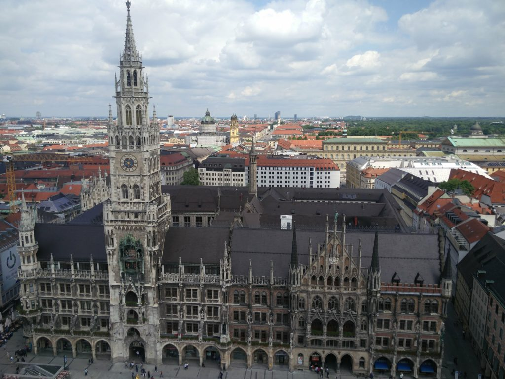 rathaus city hall munich st peter church
