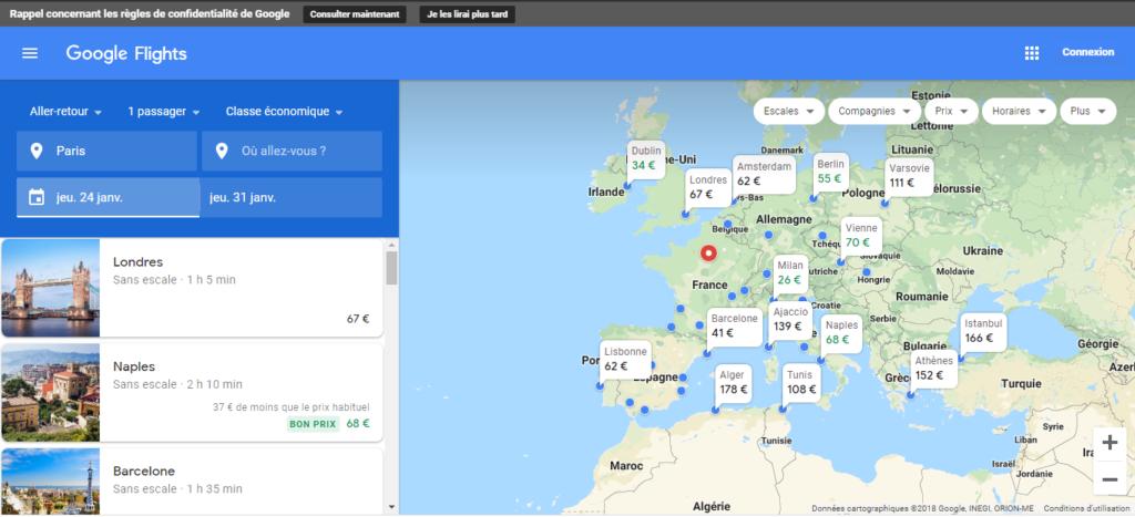 google explore vols pas cher